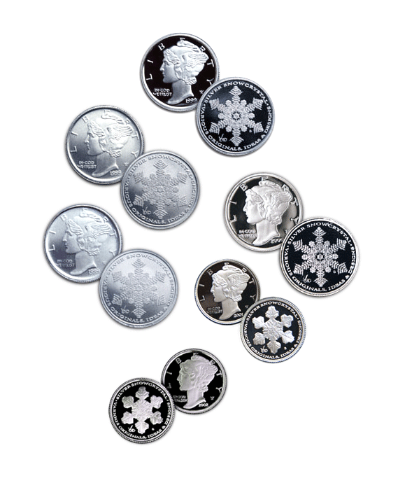 Grouping of Silver Snow Crystal Product Icons originally used for internet store.