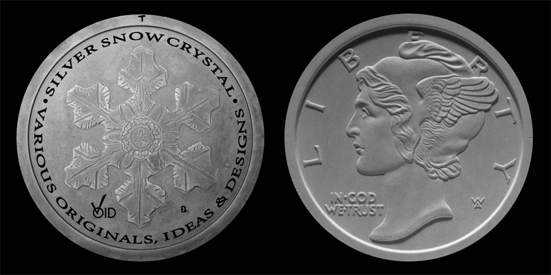 Silver Snow Crystal Sculpts for 2001-2002 Reverse and 1999-2002 Obverse.